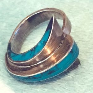 Jewelry - Vintage Art Deco Silver & Turquoise Ring